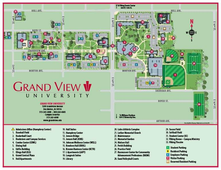 Map Of Texas Lutheran University.Campus Map Directions Grand View University