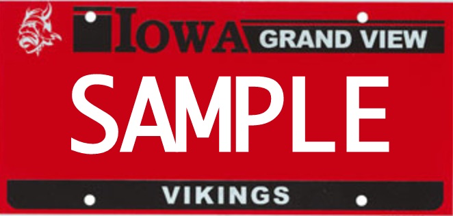 Grand View Iowa license plate